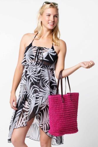 Fuşya Kadın Çiçek Desenli Şifon Plaj Elbisesi 338802 | DeFacto