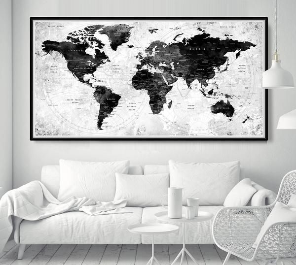 World Map Poster Push Pin Travel Map Black And White World Map Home Gift Office Decor Living Room Wall Decor Large Adventure Map L56 World Map Decor World Map Poster