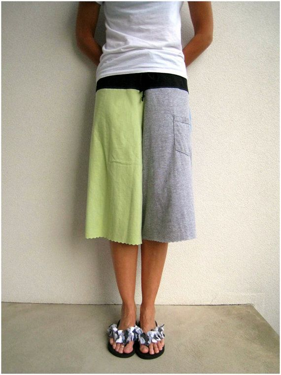 Recycled T Shirt Gaucho Yoga Pants / Lime Green Navy Blue Gray / M ...