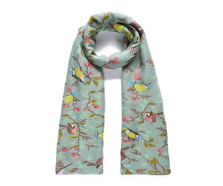 Green flower and bird print scarf