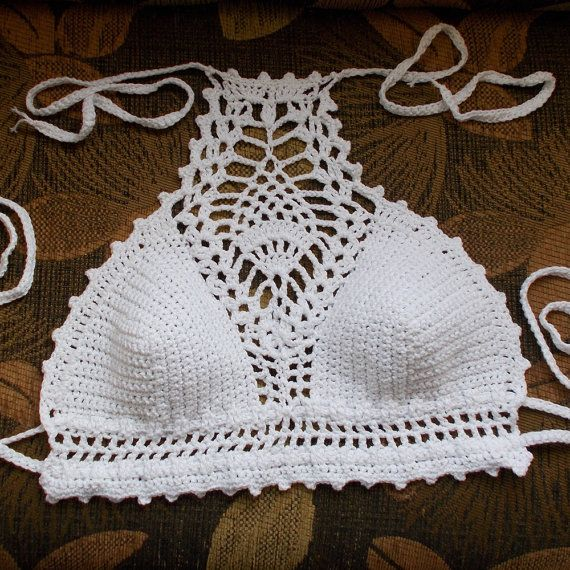 White summer crop top Festival top White crochet by KnittedSmiles