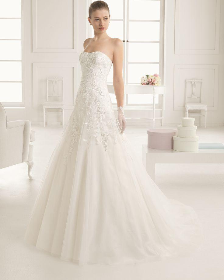 Hochzeitskleid aus Strass besetzter Spitze, Guipure und Tüll. Rosa ...