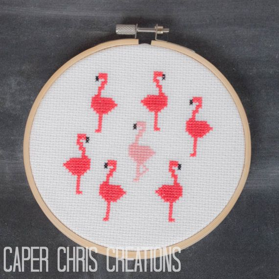 ****This listing is for the pattern only***** A flock of fun pink flamingos struts across this finished project. ************About this Pattern************** Skill level: Beginner The finished project size is 9.07 cm X 10.34 cm (approximately 3.5 X 4 inches) on 14ct Aida cloth. Finished project fits nicely in a 5 inch hoop like the one shown. Use DMC thread. 3 colours in total. This is a very simple pattern using full stitches. This purchase includes 2 pdfs. One containing a colour image,...