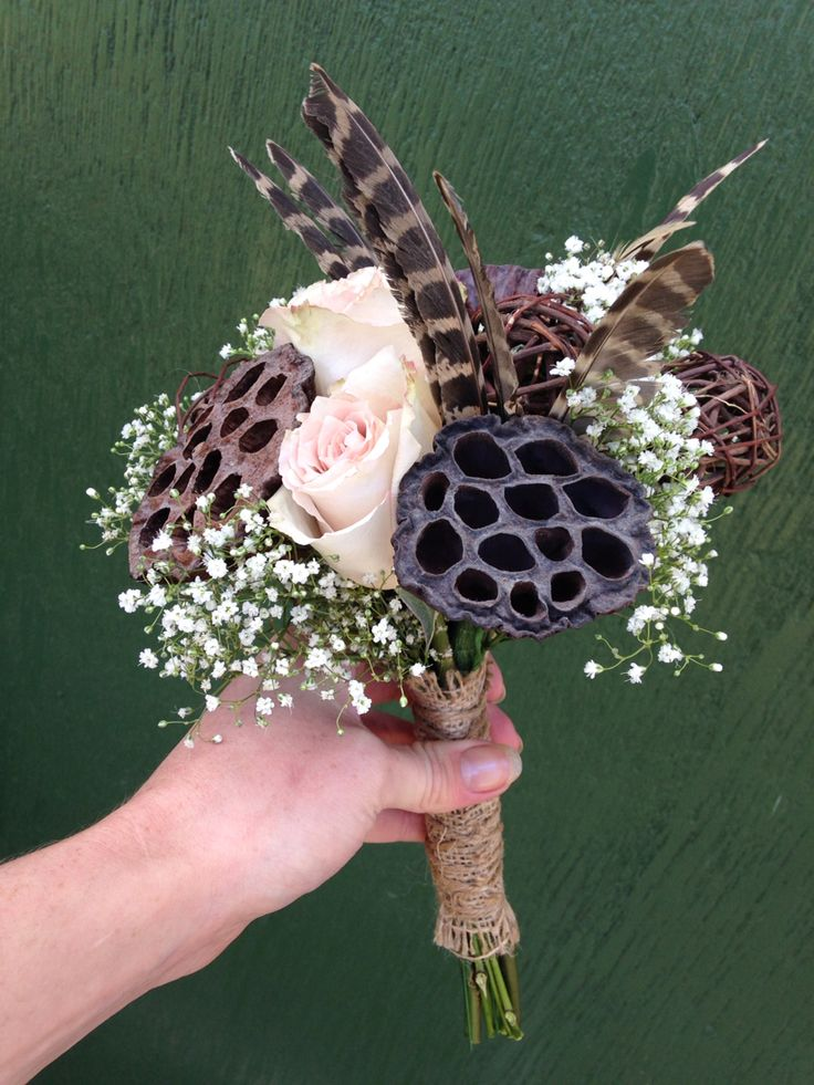 Rustic country bouquet with feathers and seed heads, Flowers by Davina
