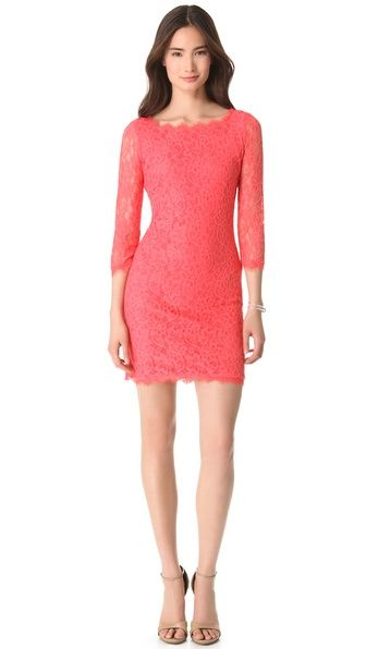 shopbop sale!  this Diane von Furstenberg Zarita Lace Dress in coral would be the perfect dress to wear to a wedding.