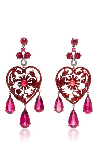Scarlet Empress Collection Red Sapphire Earrings by LYDIA COURTEILLE for Preorder on Moda Operandi