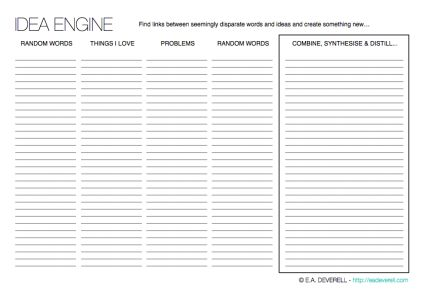 #amWriting | Creative Writing Worksheet – Idea Engine (PDF) Here is a worksheet that will have you generating story ideas a dozen at a time! Fill the engine up with words and watch it work its genius. But write quickly, without second-guessing yourself! You can find a complete PDF of all of the writing worksheets to date…