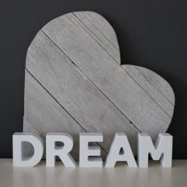 "Woord ""Dream"" Hout Wit | Woonaccessoires | Puur & Mooi wonen"