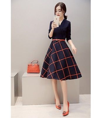 Women-Summer-Plaid-Long-Sleeve-V-Neck-Skirt-Belted-Casual-A-Line-Dress