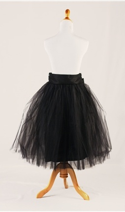 Black Tulle Knee Length Skirt -- The idea of a Tulle skirt seems really right, right now.