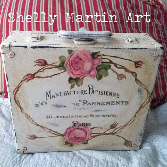 Hand Painted Roses Vintage Suitcase French Shabby & by BohemeQueen