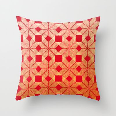 Fire Throw Pillow by Gréta Thórsdóttir - $20.00  #scandinavian #snowflake #heat, #passion #red #gold #pattern #livingroom