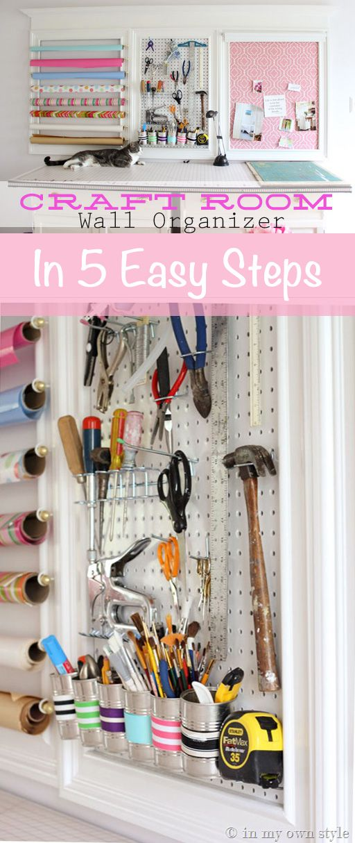 DIY Craft Room Organization Wall. Make a creative and eye appealing crafting wall for your Studio Office.