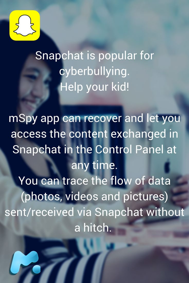 Snapchat is a popular platform for cyberbullying. Each media is deleted in 10 seconds. Everybody can send nasty or threatening images that then instantly disappear. Tracking kids Snapchat to protect from bulling could be a problem. mSpy app can recover and let you access the content exchanged in Snapchat in the Control Panel at any time. You can trace the flow of data (photos, videos and pictures) sent/received via Snapchat without a hitch. Want to know more?
