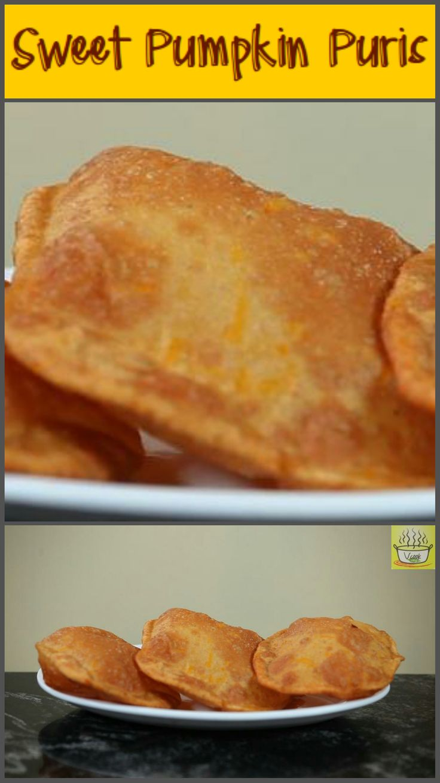 Fried flat-bread with grated pumpkin #pumpkin, #puri, #lunch, #dinner, #vegetarian, #quick, #lunchbox, #flatbread