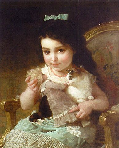 "Emile Munier, ""La Petite Fille"".  Such a sweet little brunette and cat.  I can't help but wonder what kind of doll that is . . . and the cat's wondering something about it, too, but I'm not sure exactly what."