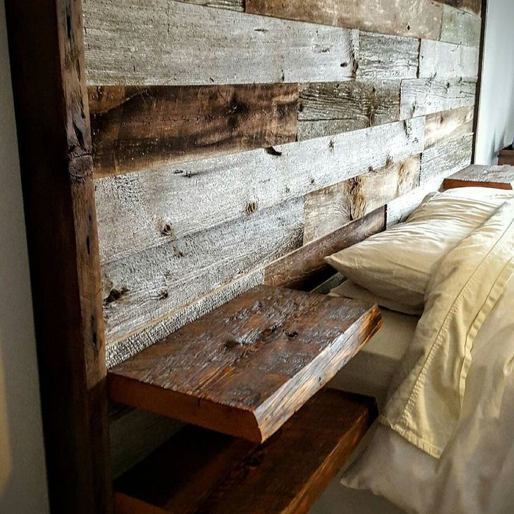 Id like this with the wood not so obviously pallet-y . Also need to see how a footboard would work with this. Live edge floating shelves are cool.