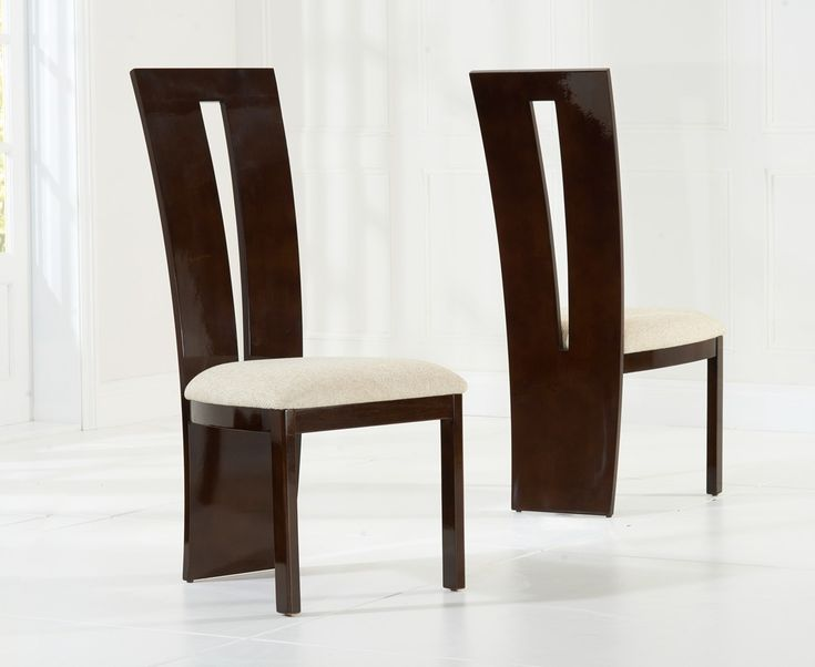 Victoria Brown Solid Wood And High Gloss Dining Chairs (Pair)  The Victoria Dining Chairs can also be accessible having a black higher gloss finish having a grey seat pad.  https://www.bonsoni.com/victoria-brown-solid-wood-and-high-gloss-dining-chairs-pair