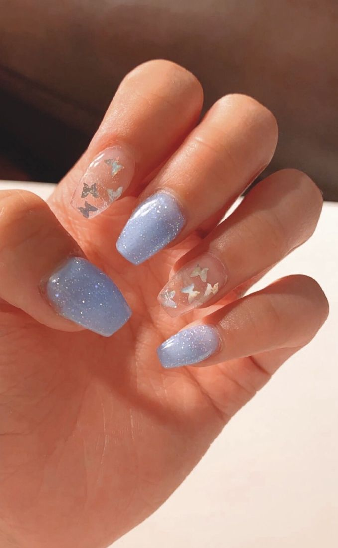 Short Nails Baby Blue Baby Blue Acrylic Nails Blue Glitter Nails Baby Blue Nails