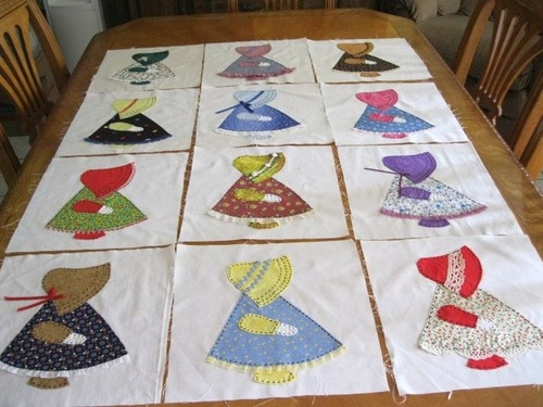 Sunbonnet Sue blocks -Mother made one of these and combined it with Overall Sam.