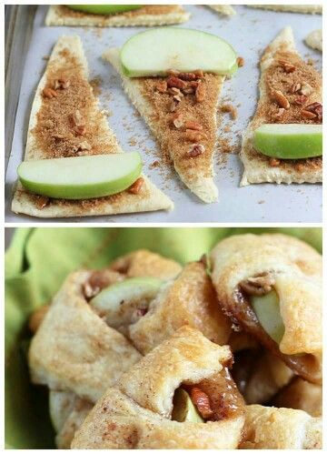 Easy baked apples using cressant rolls, brown sugar, cinnamon and pecans. Made for brunch, Extremely good, CR