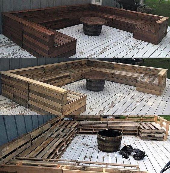 Meuble de palette – un canapé de jardin en brun
