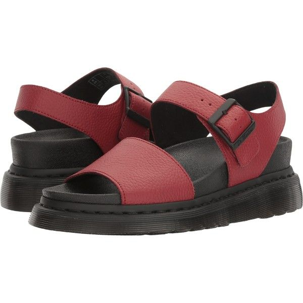 Dr. Martens Romi (Dark Red Pebble Lamper) Women's Sandals ($63) ❤ liked on Polyvore featuring shoes, sandals, red, dr martens sandals, grip shoes, dr. martens, welted shoes and leather upper shoes