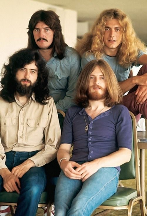 Led Zeppelin - from Left to Right, Back Row: John Bonham & Robert Plant. Front Row: Jimmy Page &  John Paul Jones. Guys with long hair STILL melt my heart!