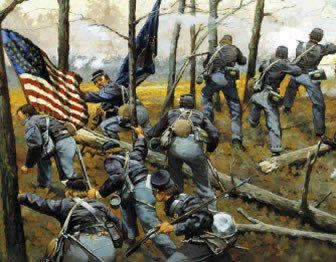 Painting showing troops attacking during the Battle of Shiloh