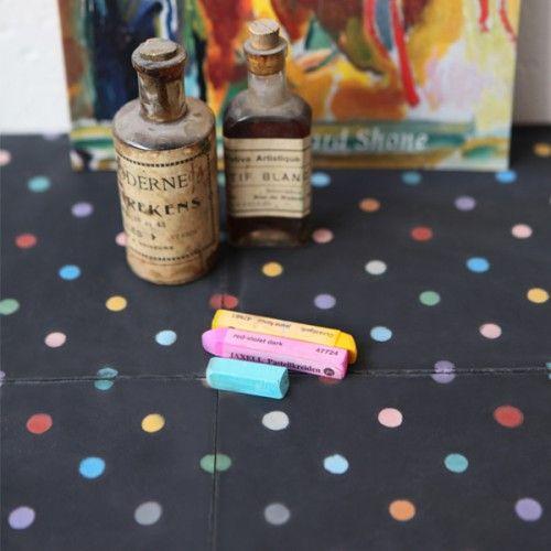Carreau de ciment Petit pois multicolore / noir - Petit Pan - vivre en multicolore