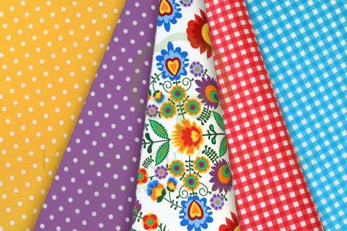 Folk cotton fabric set in turquoise, yellow & red / Zestaw folkowy