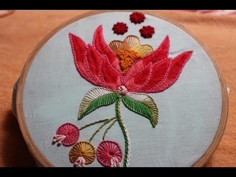 Hand Embroidery Designs | Beautiful flower design | Stitch and Flower-129 - YouTube