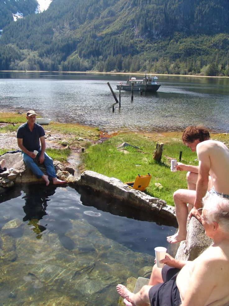 Having a relaxing soak in the natural hotsprings near Shearwater Resort in BC, Canada - ResortsandLodges.com #Travel #vacation #adventure
