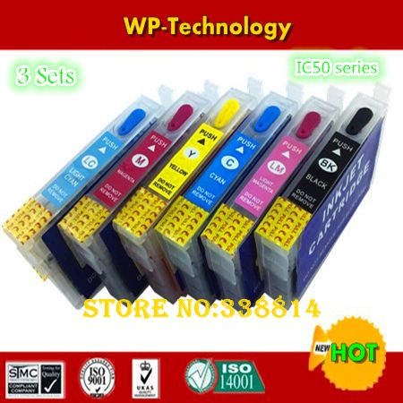 [3 sets] Empty refill ink cartridges suit for ICBK50 - ICLM50 , IC50 suit for Epson PM-G850/G4500/T960/A940/A920/A840S/D870 etc