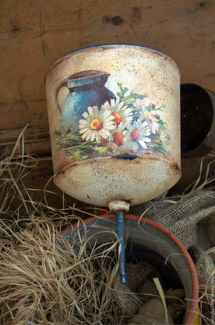 Купить Старинный умывальник Букетик ромашек, для дачи - тёмно-синий, сливочный, умывальник, рукомойник, ромашки