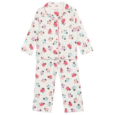 bluezoo Girl's cream sheep button fastening pyjama set- at Debenhams.com
