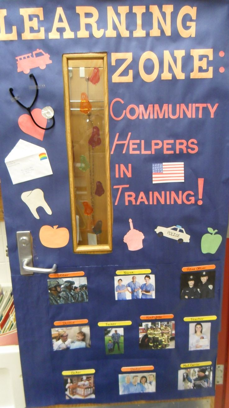 Social Studies Classroom Door Decorations ~ Door display for a unit on community helpers social