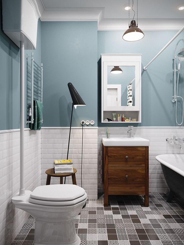 41 m2 scandinavian style apartment in Moscow (bathroom) Квартира площадью 41 кв. м в скандинавском стиле (ванная)
