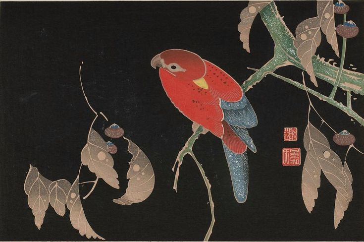 Parrot on Tree by Ito Jakuchu