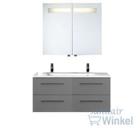 Plieger Qubic badkamermeubel met 4 laden met spiegelkast 120cm met geintegreerde verlichting grijs - 0957628 - Sanitairwinkel.nl