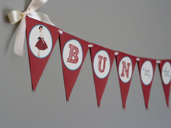 Printable Baby Shower Banner - BUN In THE OVEN