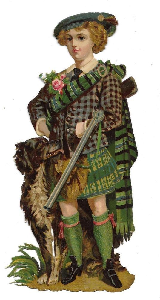 Victorian Die Cut Scrap Scottish Boy with Hunting Rifle and Hunting Dog ca. 1880