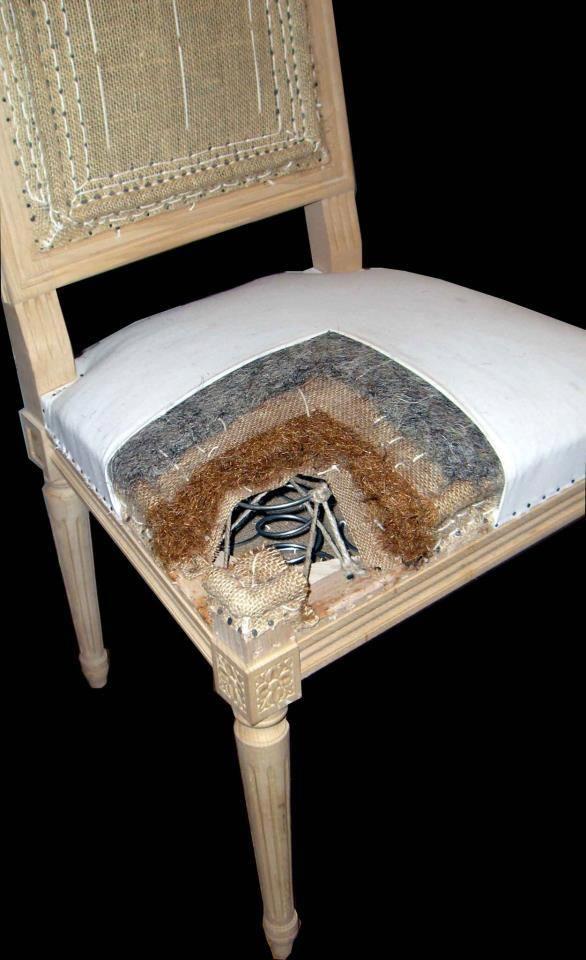 Voici les différentes étapes de la réfection d'un siège: (Avant tout, il faut dégarnir le siège, si celui ci n'est pas neuf) - Le sanglage - Le guindage - La mise en crin végétal - L'emballage - Le point de fond - Les points de piquage - Le bourrelet - La mise en crin animal - Pose de toile blanche - Pose de ouate acrylique - Pose de tissu - Finition
