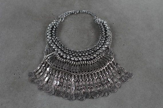 All new Handcrafted Statement Necklace Silver by Lacersuite