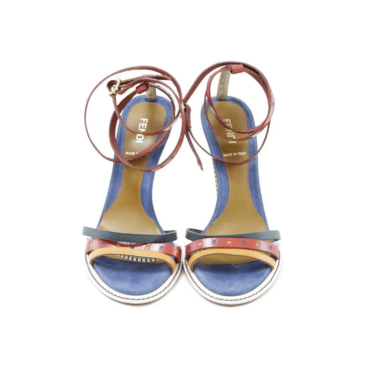 multicoloured sandals from fendi that fit perfectly into summer looks with its strappy design the