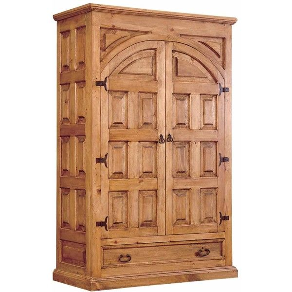 Santa Fe Rustic Pine Armoire ($1,102) ❤ liked on Polyvore featuring home,  furniture