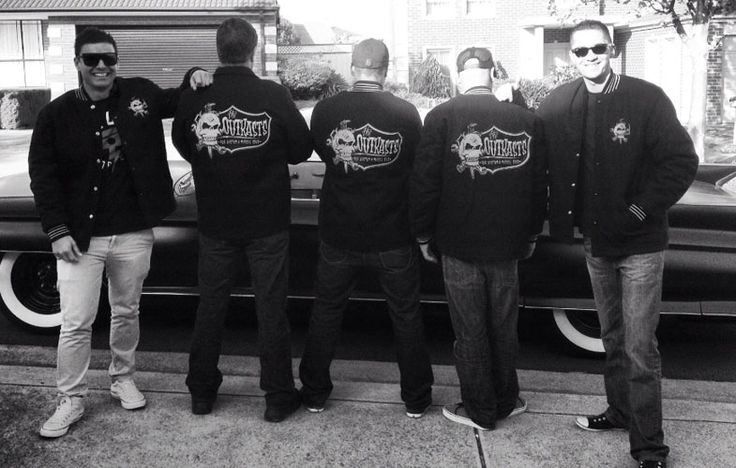 Outkasts Rod & Kustom Car Club crew looking awesome in their custom varsity surcoat jackets by Team Varsity Jackets. www.facebook.com/TeamVarsityJackets www.teamjackets.net