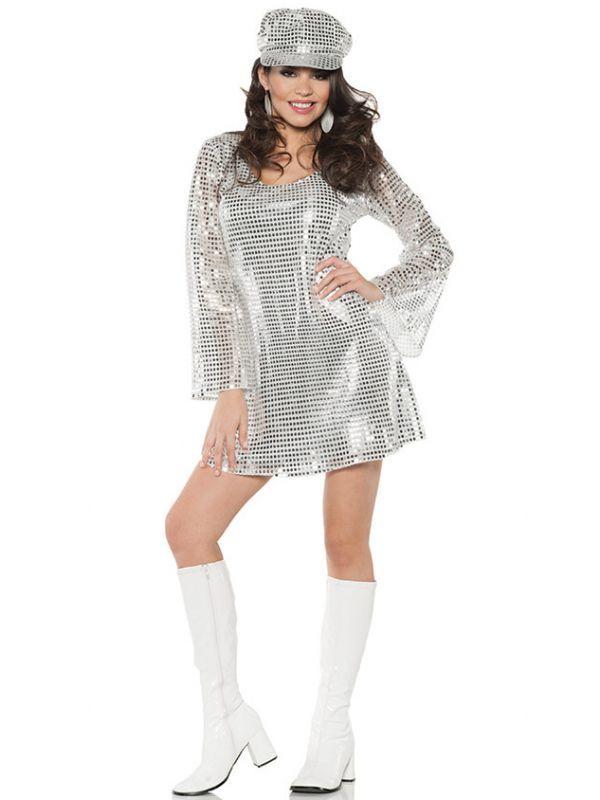 3a02a0b61c0e Silver Sequinned Retro 70 s Disco Diva Shimmer Women s Fancy Dress Costume  Main Image