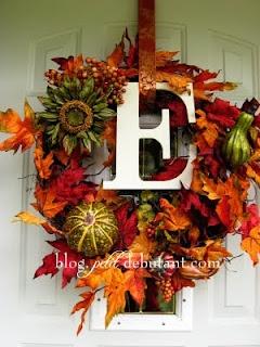 Fall Wreath: Holiday, Craft, Fall Decor, Initial, Wreath Ideas, Fall Wreaths, Autumn Wreaths, Diy Fall