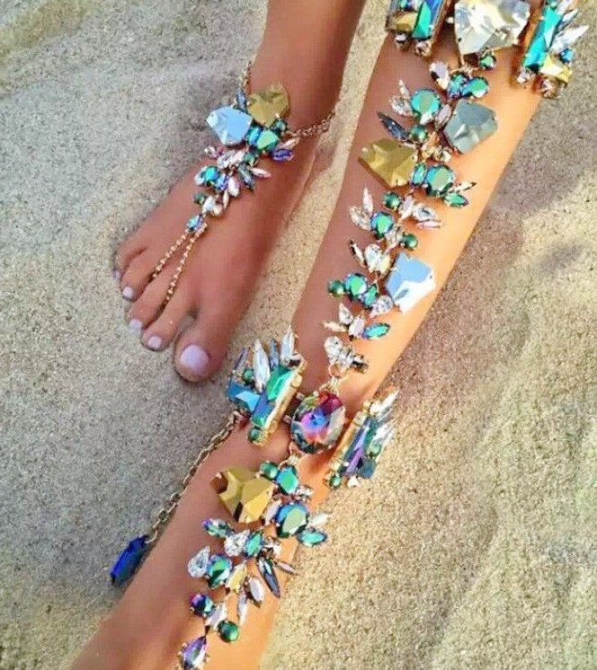 """Jeweled Rhinestone Wedding Barefoot Sandals. Beach Wedding Barefoot Sandal. Coordinating Hand Chain Available. One size fits """"most"""" Women. One Piece Handmade upon Order. Chain is Adjustable: 32 - 39cm"""
